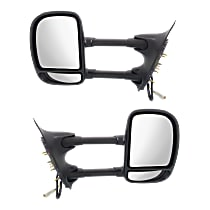 Kool Vue Power Mirror, Driver and Passenger Side, Manual Folding, Towing-Telescopic Single-Swing Type, Non-Heated, w/o Signal, Textured Black