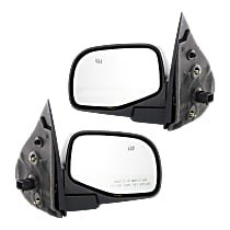 Mirror - Driver and Passenger Side (Pair), Power, Heated, Folding, Textured Black, With Puddle Lamp, For Stripped Chassis