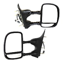 Mirror - Driver and Passenger Side (Pair), Towing, Power, Textured Black, Dual Arm