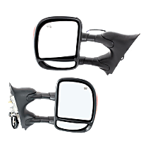 Mirror - Driver and Passenger Side (Pair), Towing, Power, Heated, Folding, Chrome, With In-Housing Turn Signal, Telescopic