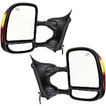 Kool Vue Power Mirror, Driver and Passenger Side, Manual Folding, Towing-Telescopic Double-Swing Type, Heated, w/ Signal, Textured Black