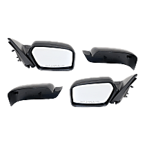 Power Mirror, Driver and Passenger Side, Non-Folding, Non-Heated, w/o Puddle Light, 2 Caps Paintable & Textured Black