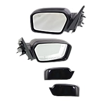 Kool Vue Power Mirror, Driver and Passenger Side, Non-Folding, Heated, w/ Puddle Light, 2 Caps Paintable & Textured Black