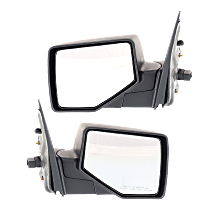 Power Mirror, Driver and Passenger Side, Manual Folding, Non-Heated, w/ Puddle Light, Textured Black