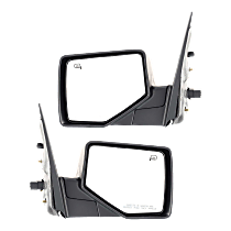 Power Mirror, Driver and Passenger Side, Manual Folding, Heated, w/ Puddle Light, Textured Black