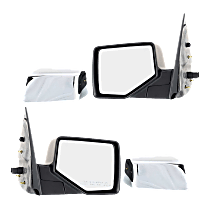 Power Mirror, Driver and Passenger Side, Manual Folding, Non-Heated, w/ Puddle Light, 4 Caps Chrome & Paintable