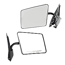 Mirror - Driver and Passenger Side (Pair), Folding, Chrome, Below Eyeline Type; Black Base