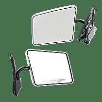 Mirror - Driver and Passenger Side (Pair), Folding, Chrome, Below Eyeline Type; Black Base
