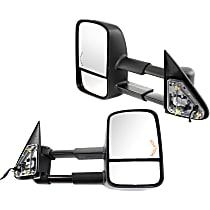 Mirror - Driver and Passenger Side (Pair), Towing, Power, Heated, Folding, Black, Turn Signal, Telescopic, Old Body