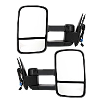 Kool Vue Power Mirror, Driver and Passenger Side, Manual Folding, Towing-Telescopic w/ Dual Glass, HTD, w/o Signal, Textured Black