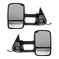 Mirror - Driver and Passenger Side (Pair), Towing, Power, Heated, Folding, Textured Black, Telescopic Dual Glass