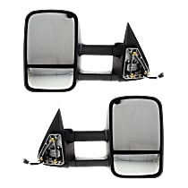 Kool Vue Power Mirror, Driver and Passenger Side, Manual Folding, Towing-Telescopic w/ Dual Glass, Heated, 8-hole 5-prong, Textured Black