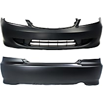 Bumper Cover - Front and Rear, 2 Pieces, Primed, For Coupe