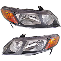 Driver and Passenger Side Headlight, Without bulb(s) - (Except Hybrid Model), Sedan