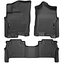 SET-H2113601 Black Floor Mats, Front And Second Row