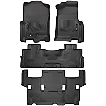 SET-H2118371-4 Black Floor Mats, Front, Second, and Third Row