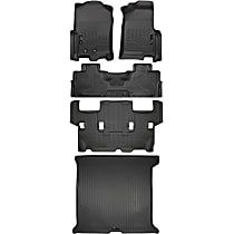 SET-H2118371-5 Black Floor Mats, Front, Second, and Third Row
