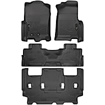 SET-H2118371 Black Floor Mats, Front, Second, And Third Row
