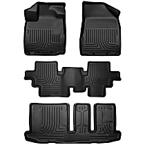 SET-H2118651 Black Floor Mats, Front, Second, And Third Row