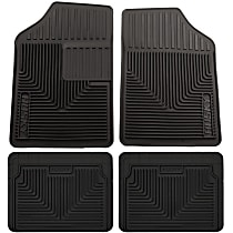 SET-H2151051-4 Black Floor Mats, Front, Second, and Third Row