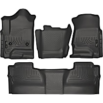 SET-H2198231-4 Black Floor Mats, Front, Second Row, and Center Hump