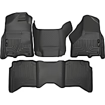 Black Floor Mats, Front, Second Row, and Center Hump