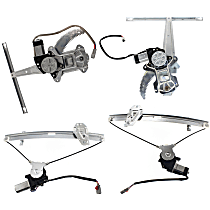 Front and Rear, Driver and Passenger Side Power Window Regulator, With Motor - Sedan