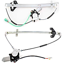 Front and Rear, Driver Side Power Window Regulator, With Motor