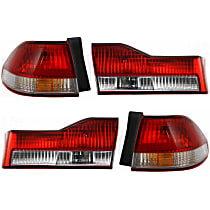 Driver and Passenger Side, Inner and Outer Tail Light, With bulb(s) - Clear & Red Lens, Sedan