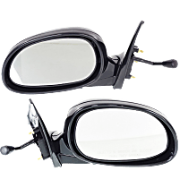 Mirror - Driver and Passenger Side (Pair), Manual Remote, Folding, Paintable, For Hatchback