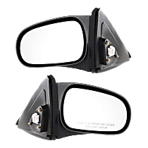 Mirror - Driver and Passenger Side (Pair), Power, Light Textured, For Coupe or Hatchback