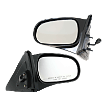 Mirror - Driver and Passenger Side (Pair), Manual Remote, Textured Black, For Coupe or Hatchback