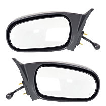 Mirror - Driver and Passenger Side (Pair), Manual Remote, Textured Black, For Sedan