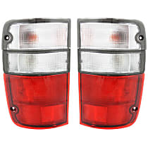 Driver and Passenger Side Tail Light, With bulb(s) - Clear & Red Lens