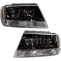 Driver and Passenger Side Headlight, With bulb(s) - 99-04 Grand Cherokee (Laredo/Sport/Columbia/Freedom/Special Edition Model), Prod Date from 01/02/2002, w/ clear Turn Signal lens, w/o Wiring harness