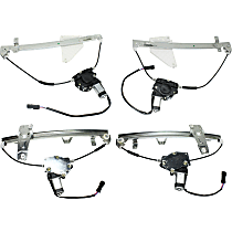 Front and Rear, Driver and Passenger Side Power Window Regulator, With Motor
