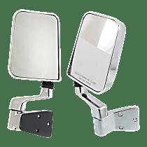 Manual Mirror, Driver and Passenger Side, Manual Folding, w/ Single Arm, Chrome
