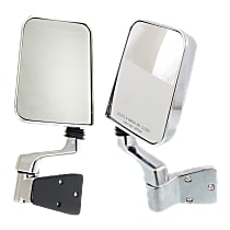 Kool Vue Manual Mirror, Driver and Passenger Side, Manual Folding, w/ Single Arm, Chrome