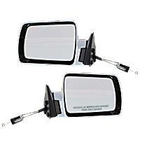 Mirror - Driver and Passenger Side (Pair), Manual Remote, Chrome, Black Base