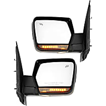 Power Mirror, Driver and Passenger Side, Power Folding, w/o Corner Blind Spot Glass, Heated, w/ Memory, Signal, and Puddle Light, Chrome