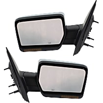 Kool Vue Power Mirror, Driver and Passenger Side, Manual Folding, Non-Towing, Heated, w/o Memory & Puddle Light, w/ Signal, Chrome