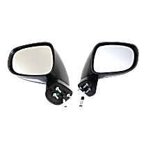 Power Mirror, Driver and Passenger Side, Manual Folding, Heated, w/ Memory and Puddle Light, w/o Signal, Paintable