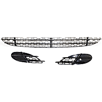 Front, Driver and Passenger Side, Center, Outer Bumper Grille, Black