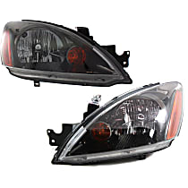 Driver and Passenger Side Headlight, With bulb(s) - Except Evolution Model, Clear Lens, Black Interior