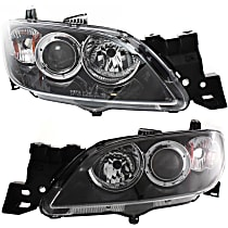 Driver and Passenger Side Halogen Headlight, Without bulb(s), Sedan