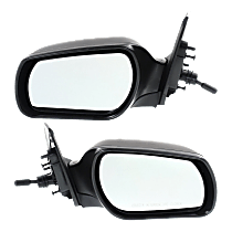 Mirror - Driver and Passenger Side (Pair), Manual Remote, Paintable, For Sedan or Hatchback