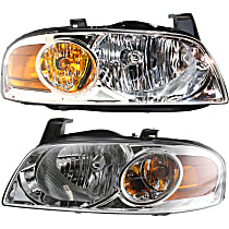 Driver and Passenger Side Halogen Headlight, With Bulb(s) - 04-06 Sentra (Base/S Model)