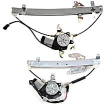 Front and Rear, Passenger Side Power Window Regulator, With Motor