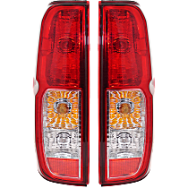 Driver and Passenger Side Tail Light, With bulb(s) - Clear & Red Lens, To 2-14