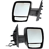 Power Mirror, Driver and Passenger Side, Manual Folding, Non-Heated, w/o Signal, Textured Black